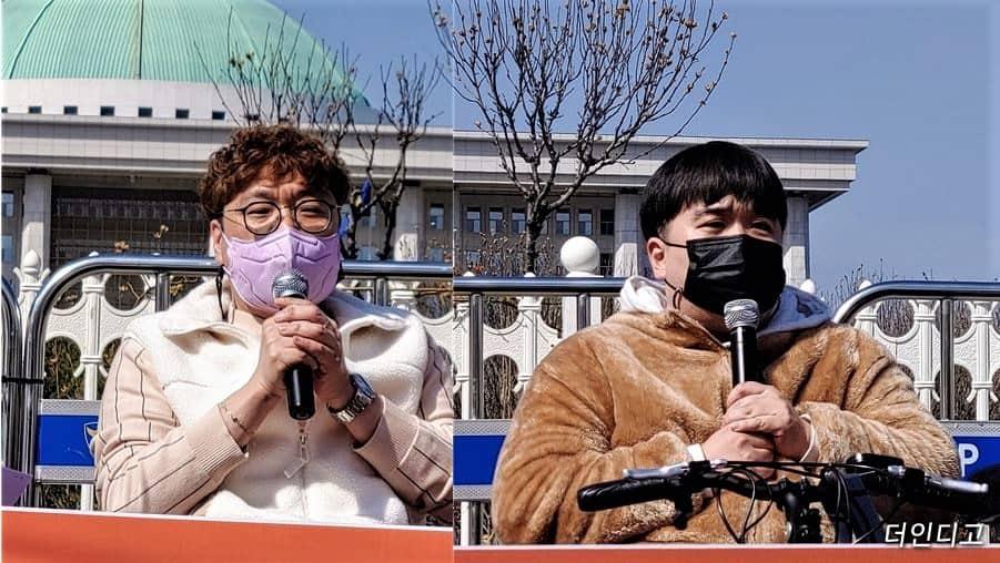 보문장애인자립생활센터 신인수 센터장(좌)과 서울장애인자립생활센터 남민 활동가(우)가 발언하고 있다./사진=더인디고