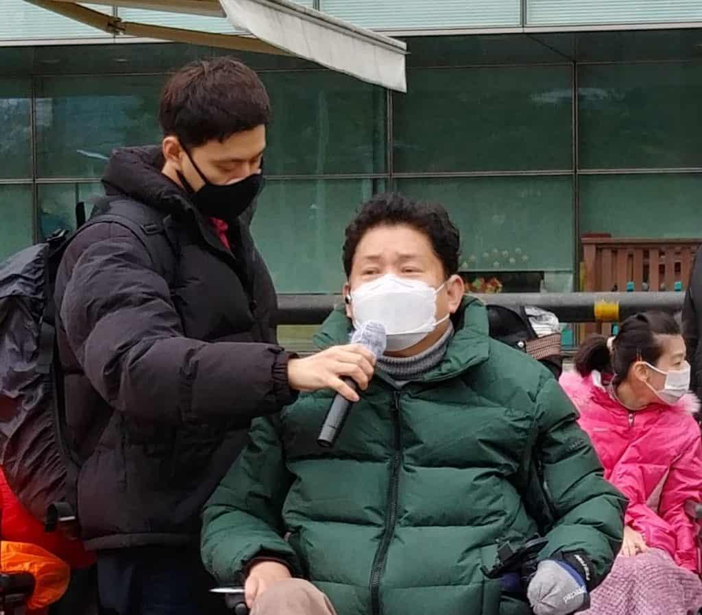 한국장애인자립생활센터협의회 최용기 회장이 발언하고 있다.