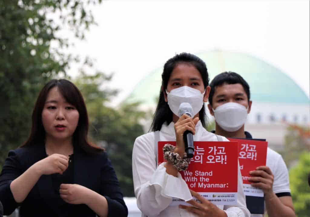 미얀마인 '에이 에이 아응' 씨가 발언하고 있다./사진=한국장애인연맹