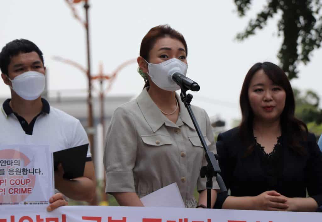 김예지 의원이 지지 발언을 하고 있다./사진=한국장애인연맹