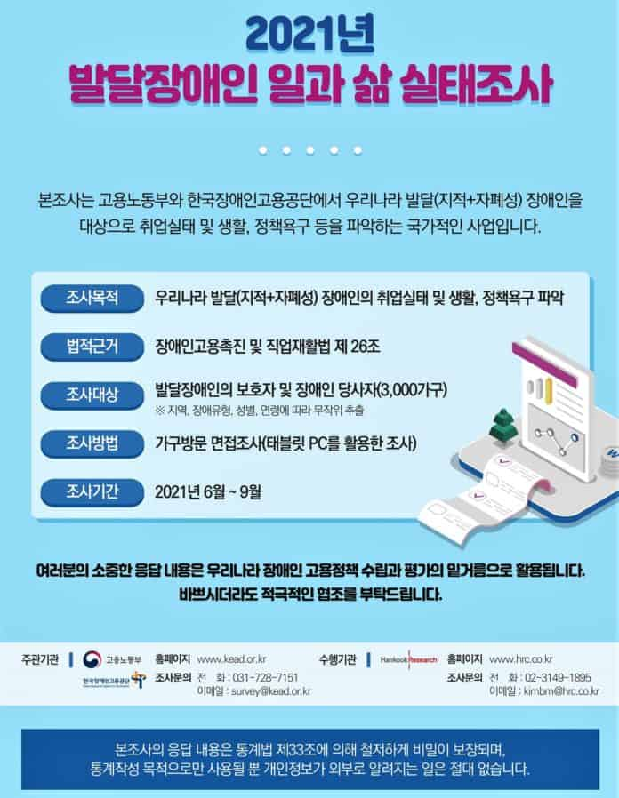 ▲발달장애인 일과 삶 실태조사 포스터(한국장애인고용공단)
